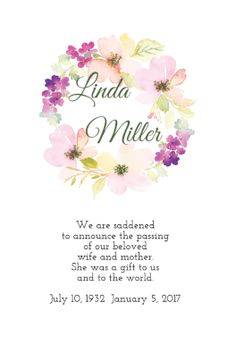 Pure Inspiration Printable Memorial Announcement Memorial