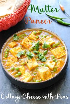 Matar paneer is a magic combo of soft Indian cottage cheese and green peas simmered in an onion-tomato gravy. An easy recipe that's perfect for brunch! # Easy Recipes indian Mutter Paneer Recipe (Indian Cottage Cheese with Sweet Peas) Indian Paneer Recipes, Indian Food Recipes, Ethnic Recipes, Indian Snacks, Veggie Recipes, Vegetarian Recipes, Healthy Recipes, Free Recipes, Easy Recipes
