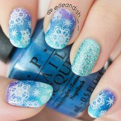 snowflakes christmas by elleandish__  #nail #nails #nailart