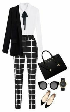Fashion Style Combination - Checked Black, Black Jacket, White Blouse, Tie For Blouse, Black Pocketbook, Sunglasses, accessories, watch and stylish pumps.