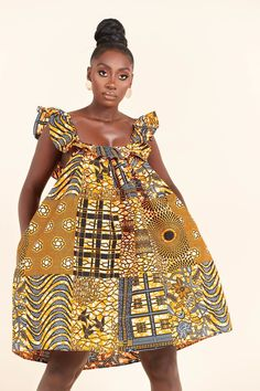 African Print Dresses, African Print Fashion, African Dress, Wedding Dress With Pockets, Dress Pockets, Charlotte Dress, Ghanaian Fashion, Mid Length Dresses, African Fabric