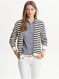 Black & White cardigan with Chambray shirt and white pants