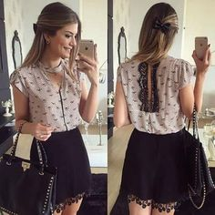 🎀 O Lacinho no Cabelo Com a Blusa de Renda - / 🎀 The Bow in Her Hair With Lace Blouse - Love Fashion, Fashion Looks, Womens Fashion, Fashion Design, Fashion News, Fashion Beauty, Casual Chic, Dress Skirt, Dress Up