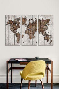 Wood Map 3 Panel Sectional Wall Art