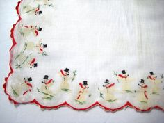 Vintage Christmas Hankie SNOWMAN by TallTimberAntiques on Etsy
