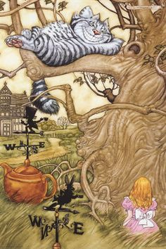 Alice in Wonderland Cheshire Cat Angel Dominguez Art Poster 24x36