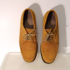 825dc3d4da0 Hush Puppies Shoes Size 9 Womens Vintage Gold Suede Leather Slip Ons  Mustard Yellow Oxford Flats Rockabilly Hipster Grunge Geekery 1990s