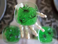 Halloween Party Ideas: Make Green Gelatin Shots With Spiders:  From DIYNetwork.com from DIYnetwork.com