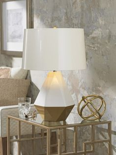 Exceptionnel Robert Abbey Delta Duo Lily And Gold Table Lamp ᘡղbᘠ