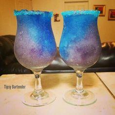 GALAXY COCKTAIL Blue Layer: 1 oz. (30ml) Tequila 3/4 oz. (22ml) Grenadine 3/4 oz. (22ml) Blue Curacao 1 oz. Lemonade Purple Layer: 3/4 oz. (22ml) Blue Curacao 3/4 oz. (22ml) Grenadine 1/2 oz. (15ml) Vodka 1 oz. (30ml) Lemonade