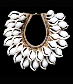 Contemporary necklace from New Guinea | Cowrie shells, seeds and natural fiber