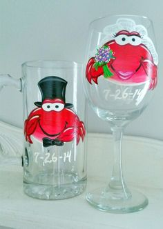 Crab wedding glasses