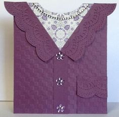 Cardigan card using Stampin Up Delicate Designs embossing folder~!