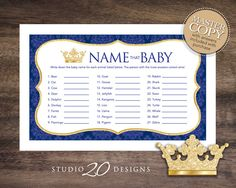 Instant Download Royal Blue Prince Name That Baby Game, Blue Prince Baby Shower Games, Printable Gold Glitter Crown Animal Name Game 66C