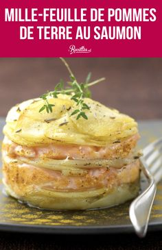 Potato mille-feuille with salmon - A creative and delicious recipe, very easy to make! Vegetarian Crockpot Recipes, Easy Chicken Dinner Recipes, Vegetarian Recipes Dinner, Healthy Chicken Recipes, Slow Cooker Recipes, Beef Recipes, Easy Meals, Vegetarian Mexican, Lasagna Recipes