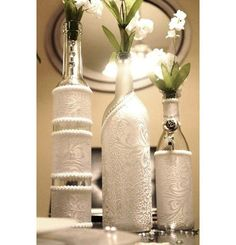 Wine Bottle Decor. Wedding Table Centerpieces.
