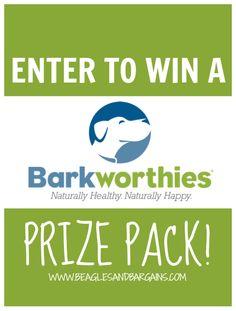 Enter to win a Barkworthies Prize Pack! #sponsored | http://www.beaglesandbargains.com/five-barkworthies-chew-favorites-review/