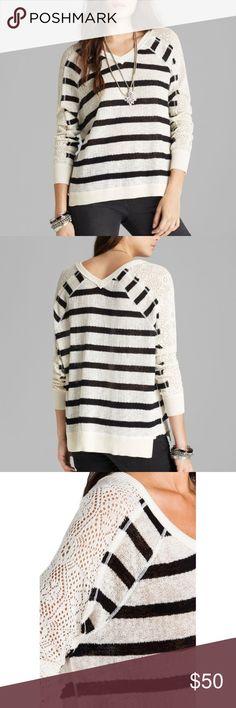 Free People Fluffy Lou Striped Sweater Knit sweater features allover stripes with contrast crochet detailing at long sleeves. Ribbed accents at cuffs and high-low hem. Go for casual-chic style by pairing this with your favorite jeans! Free People Sweaters V-Necks