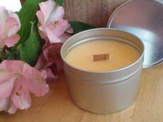 Georgia Peach Wood Wick Candle in Tin 8 oz. by CherryOakCandles