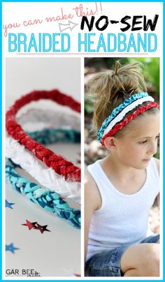 Red White Blue Braided Headbands - no sew! - Sugar Bee Crafts