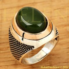 Sultan Süleiman Oval Shape Jade Stone Look Man Ring Ottoman Silver Jewelry 925ss #Unbranded