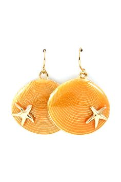 Shell Dangles in Soft Coral Wash on Emma Stine Limited