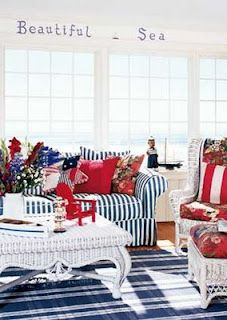 A Cozy Coastal Living E In Cheerful Red White And Blue