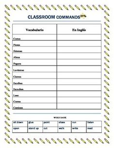This worksheet set is extremely useful to teach students in Middle Schoola nd High school Classroom Commands.  The vocabulary list with 12 commands and a work bank will allow you to teach them 12 basic expressions that they can use easily.  In addition the second worksheet will allow them to review  Classroom objects.