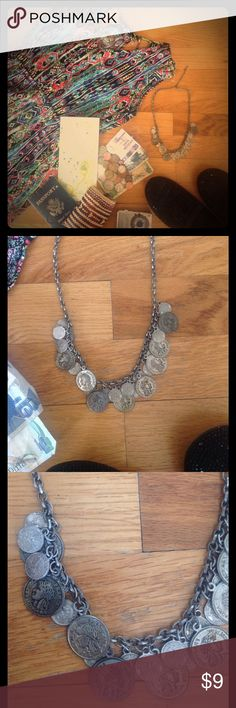 """Boho Necklace This is a vintage bohemian inspired coin necklace.  It has an adjustable chain.  Approx 12"""" in length with about 4"""" of adjustment.  Lots of other listings to bundle and save!! Jewelry Necklaces"""