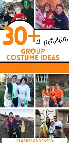 30 Amazing Halloween Costumes for a Family of Four - if your family loves to dress up for Halloween, you are going to love all of these family friendly costume ideas! via @clarkscondensed Amazing Halloween Costumes, Halloween Stories, Family Halloween Costumes, Spirit Halloween, Holidays Halloween, Diy Costumes, Halloween Diy, Costume Ideas, Halloween Party Treats