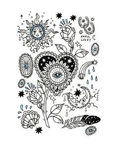 Pin by ivy farrand on art journal Tattoo Sketches, Tattoo Drawings, Body Art Tattoos, Small Tattoos, Art Sketches, Sleeve Tattoos, Third Eye Tattoos, Lucky Art, Tattoo Flash Art