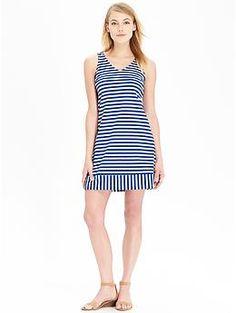 Womens Striped Ponte-Knit Shift Dresses