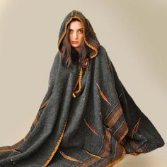 Dark Gray Handwoven Poncho Sold  Accepting custom by subrosa123, €1800.00