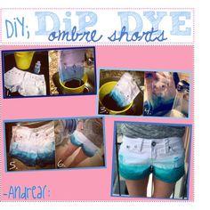 DIY Dip Dye Blue Ombre Shorts
