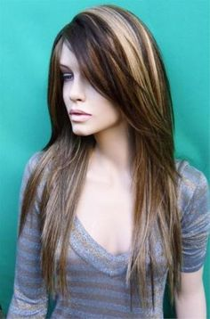 dark chestnut brown hair with blonde highlights Highlights For Dark Brown Hair, Blonde Highlights, Dark Hair, Chunky Highlights, Peekaboo Highlights, Blonde Hair, Blonde Streaks, Brown Blonde, Hair Color And Cut
