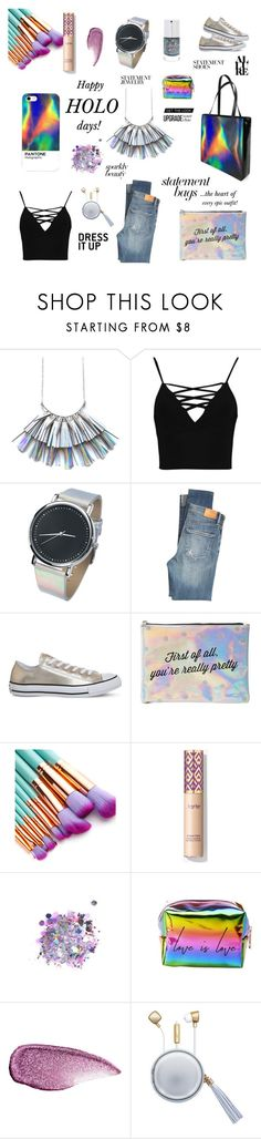 """""""0209 - Happy Holo-days"""" by lexymoniquecebu ❤ liked on Polyvore featuring Boohoo, Citizens of Humanity, Converse, Charlotte Russe, The Gypsy Shrine, Stila and The Macbeth Collection"""