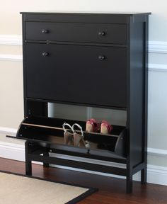 Shoe Cabinet with Storage Drawer in Black Finish - City of Industry