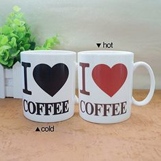 Sensitive Coffee #Mugs #Love Heart Pattern Color Changing Magic Mug for Friends Gift
