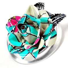 Recycled Jewelry Aqua and Pink Rose Brooch by wearwolf on Etsy, $24.00