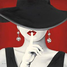 Haute Chapeau Rouge I Canvas Art Print by Marco Fabiano Red Hats, Canvas Art Prints, Canvas Fabric, Painting Inspiration, Brown And Grey, Black White Red, Female Art, Fashion Art, Graphic Art