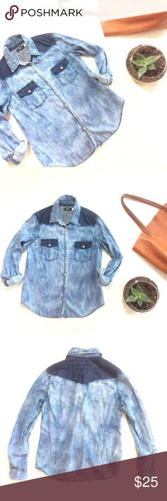 """🆕LISTING {Urban Outfitters} Two-Tone Chambray Super cool 😎 acid washed buttondown in softened chambray. Two-tone blue. 25"""" long from shoulder to hem. By BDG. In excellent condition. Urban Outfitters Tops Button Down Shirts"""