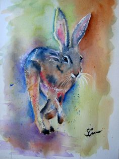 Watercolour hare Hare, Watercolour, Pastel, Artwork, Painting, Pen And Wash, Watercolor Painting, Cake, Work Of Art