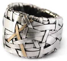 woven series of contemporary jewellery - celebrating Life and its crossroads ring band handcrafted in sterling silver with a 18ct yellow gold 'X' detail, create