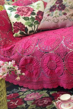 Vintage Home - Raspberry Crocheted and Embroidered Throw.