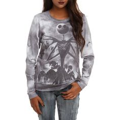 The Nightmare Before Christmas Jack Storm Girls Pullover Top Hot Topic ($1) ❤ liked on Polyvore featuring tops, shirts, nightmare before christmas, hot topic and sweaters