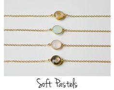 Vergoldete Armbänder - Soft Pastels: Halbedelstein Armband vergoldet - ein Designerstück von miaundmartha bei DaWanda
