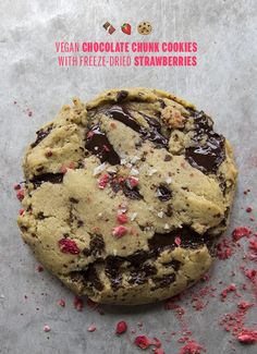 Vegan Chocolate Chunk Cookies with Strawberries