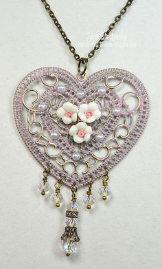 Heart and Roses Necklace Closeup