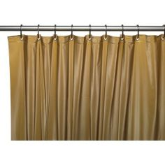Carnation Home Fashions Hotel Collection, 8 Gauge Vinyl Shower Curtain Liner w/ Weighted Magnets and Metal Grommets in Gold Hotel Shower Curtain, Vinyl Shower Curtains, Shower Curtain Hooks, Shower Liner, Showcase Design, Mold And Mildew, Bathroom Accessories, House Styles