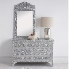 Large Grey Mother of Pearl Inlay Chest By Zohi Interiors $3,650